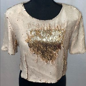 NWT cream & gold sequin cropped top by Line & Dot